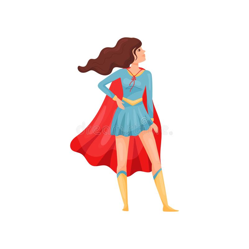 Kobieta super bohater w błękit sukni t?a ilustracyjny rekinu wektoru biel ilustracji