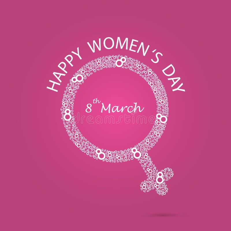 Kobieta symbol i osiem logów projekt Międzynarodowy kobiety ` s dzień ic royalty ilustracja
