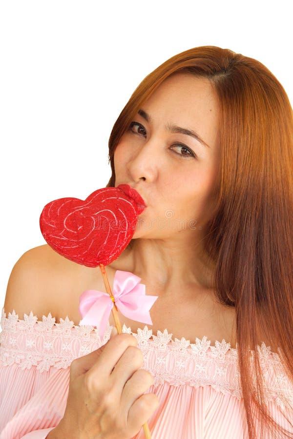 Kobieta szczęśliwa w cukierku 3 zdjęcia stock