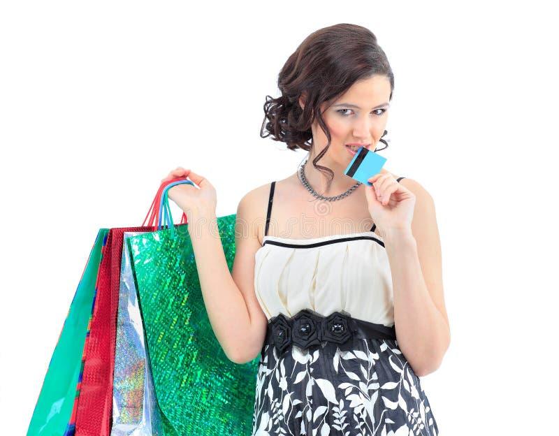 Download Kobieta Szczęśliwego Wp8lywy Kredytowa Karta Zdjęcie Stock - Obraz złożonej z dorosły, szczęście: 28970002
