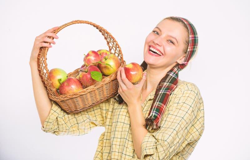 Kobieta szczery wieśniak niesie kosz z naturalnymi owoc Damy średniorolna ogrodniczka dumna jej żniwo kobiety ogrodniczka zdjęcie stock