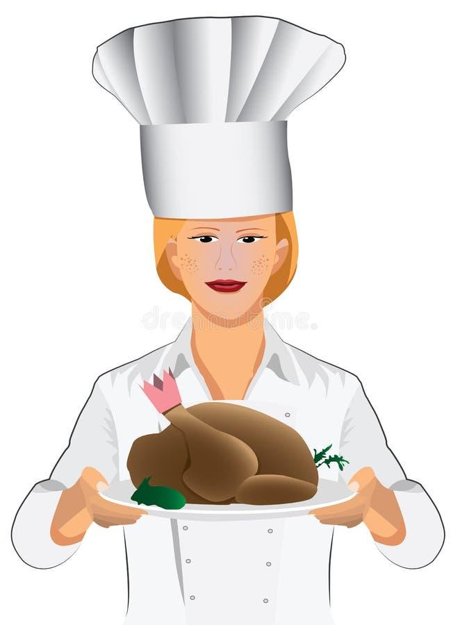 Kobieta szef kuchni ilustracji