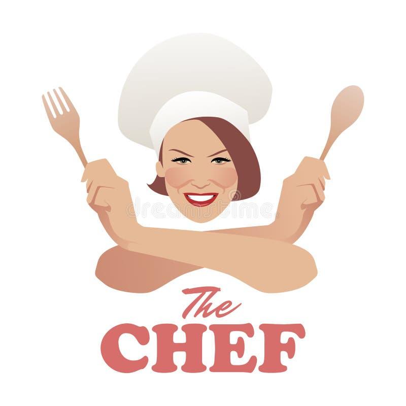 Kobieta szef kuchni Piękny kucharz z drewnianą łyżką i rozwidleniem royalty ilustracja