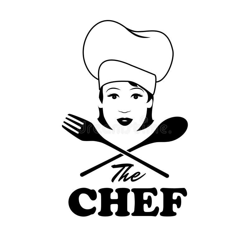Kobieta szef kuchni Piękny kucharz z drewnianą łyżką i rozwidleniem ilustracji