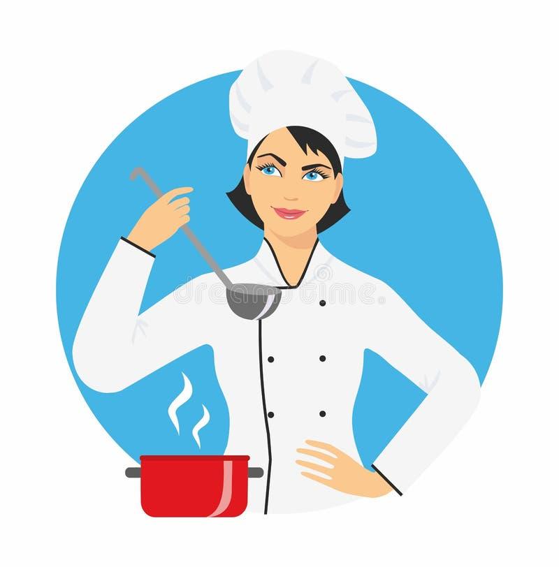 Kobieta szef kuchni w nakrętce i mundurze z kopyścią w jego ręce wektorowa ilustracja, odizolowywająca na błękitnym round tle ilustracji