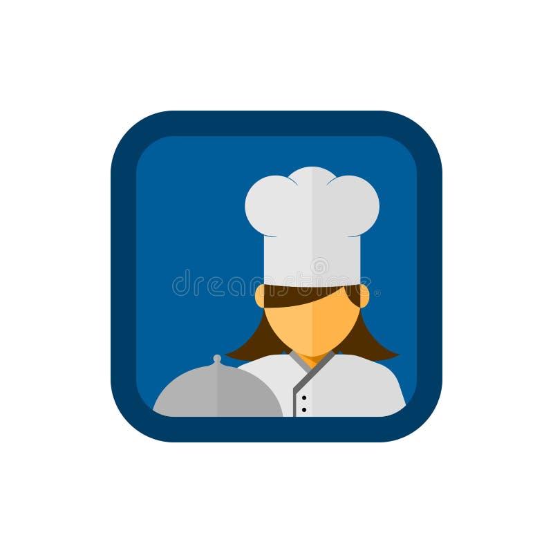 Kobieta szefa kuchni avatar z zakrywającym półkowym wektorem w kwadratowym kształcie ilustracji