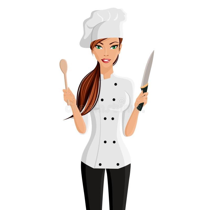 Kobieta szefa kuchni portret royalty ilustracja