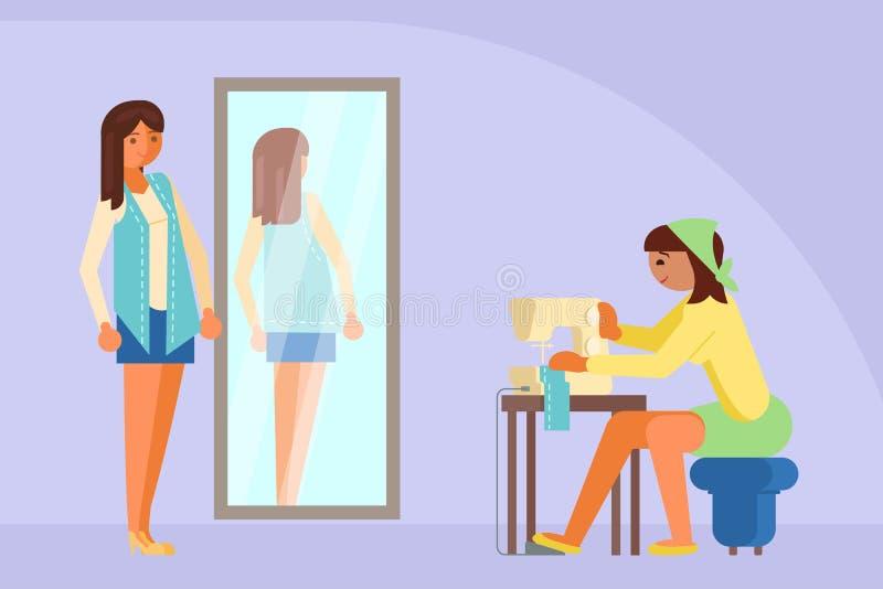 Kobieta szy na maszynowej wektorowej płaskiej ilustraci royalty ilustracja