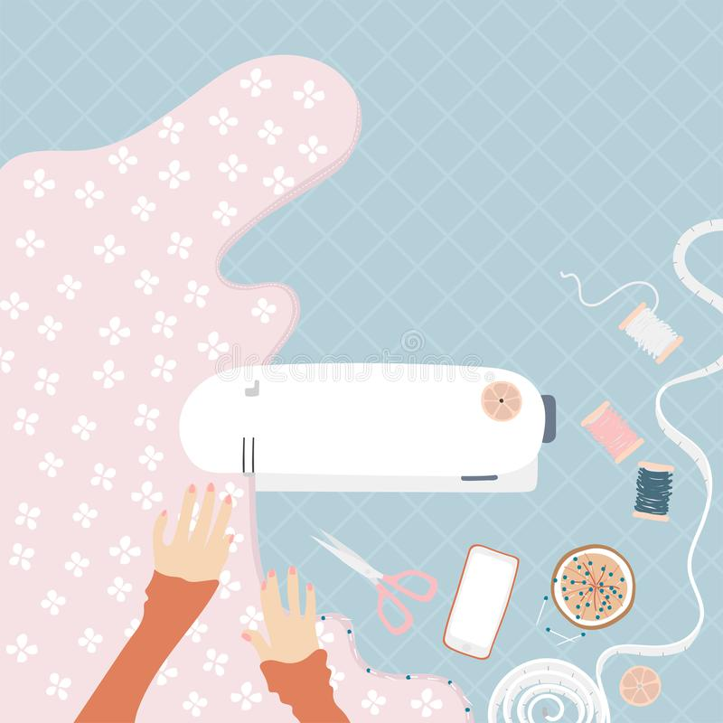 Kobieta szy na szwalnej maszynie ilustracja wektor
