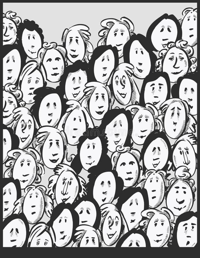 Kobieta tłum - postać z kreskówki ilustracja wektor
