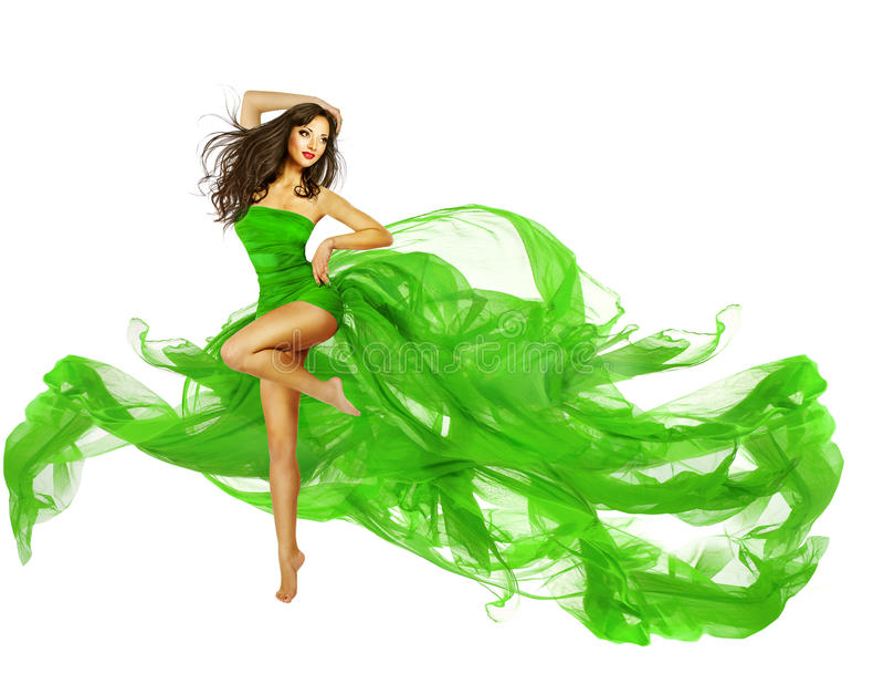 Kobieta tana zieleni suknia, tancerz mody modela Latająca tkanina obraz stock