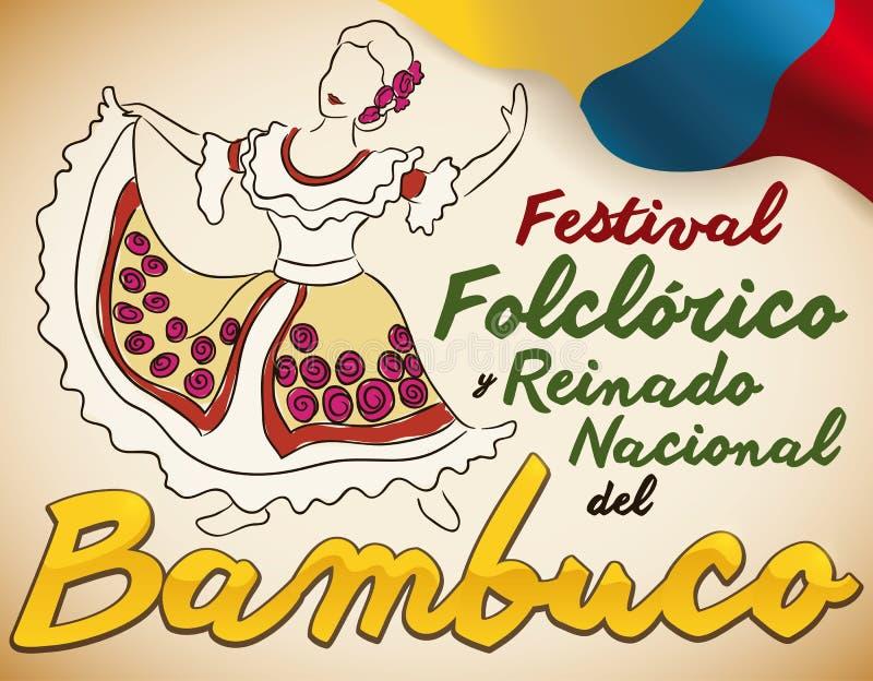 Kobieta Tanczy Bambuco, Tradycyjny Kolumbijski tana pokaz dla festiwalu, Wektorowa ilustracja royalty ilustracja