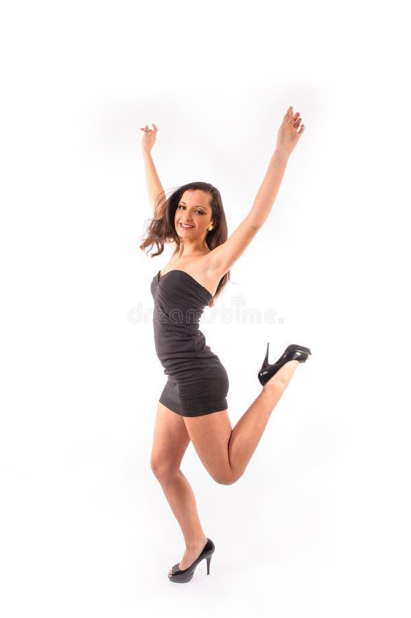 Kobieta taniec i junping zdjęcie royalty free