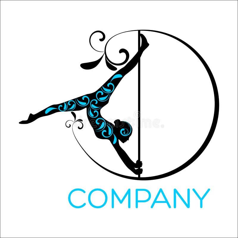 Kobieta taniec na słupa logo royalty ilustracja