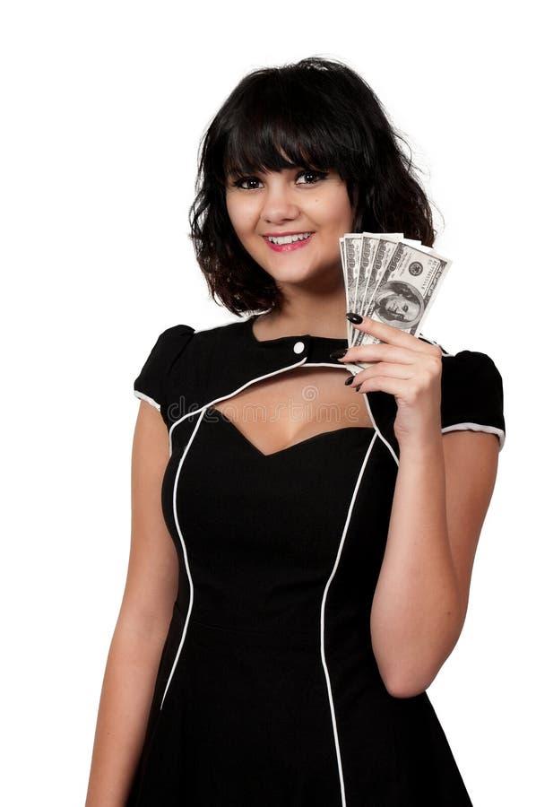 Kobieta TARGET1269_1_ 100 Dolarowych Rachunków obraz stock