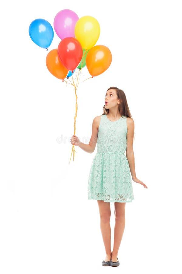 Kobieta Target116_1_ Wiązkę Balony Zdjęcie Royalty Free