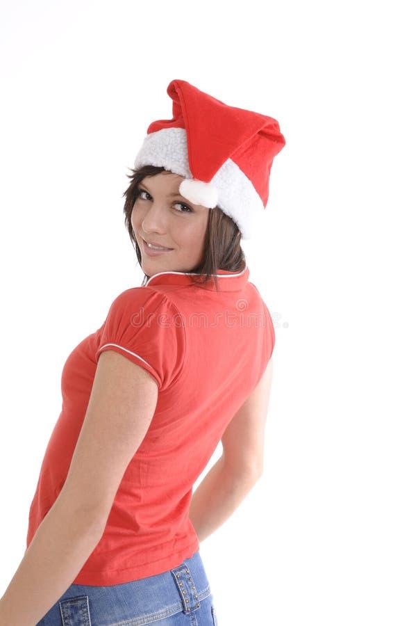Kobieta target458_0_ Santa kapelusz zdjęcia stock