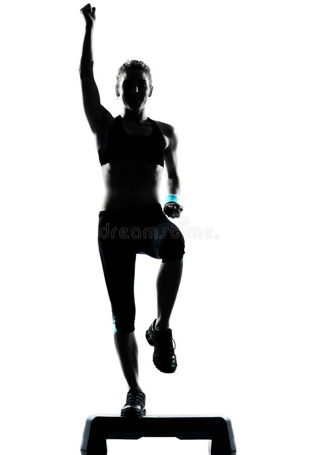 Kobieta target485_0_ kroków aerobiki obraz royalty free