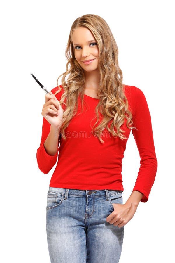 Kobieta target600_0_ tło przy copyspace na biały tle zdjęcia stock