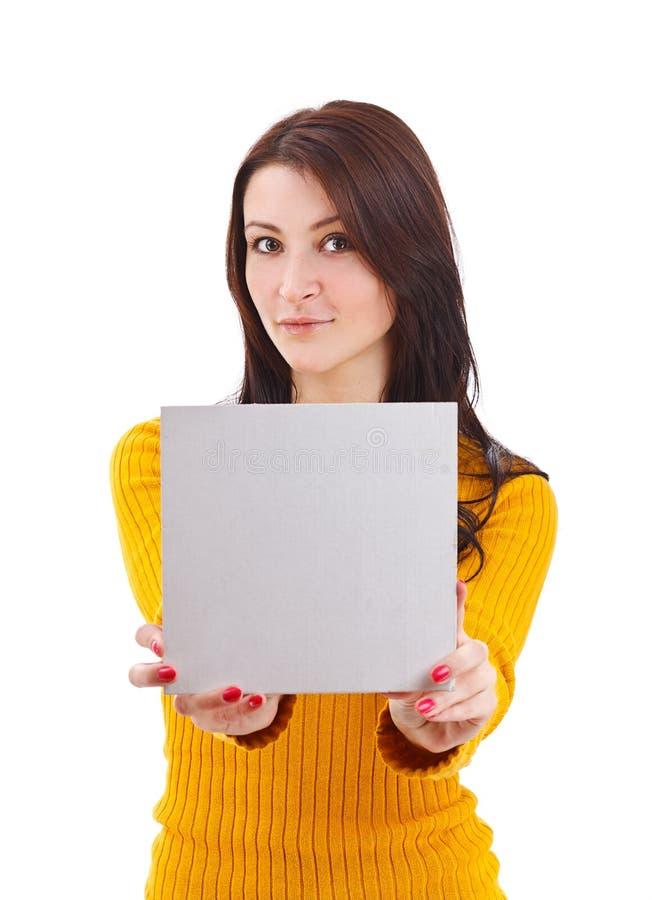 Kobieta target809_1_ pustą kartę obrazy stock