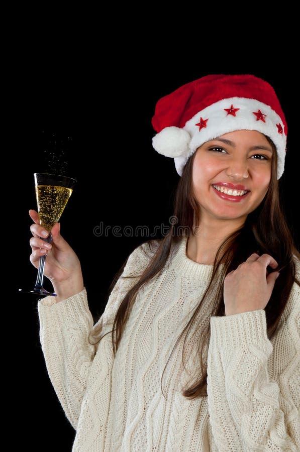 Kobieta target974_0_ z szampanem zdjęcie stock