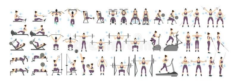 Kobieta treningu set royalty ilustracja