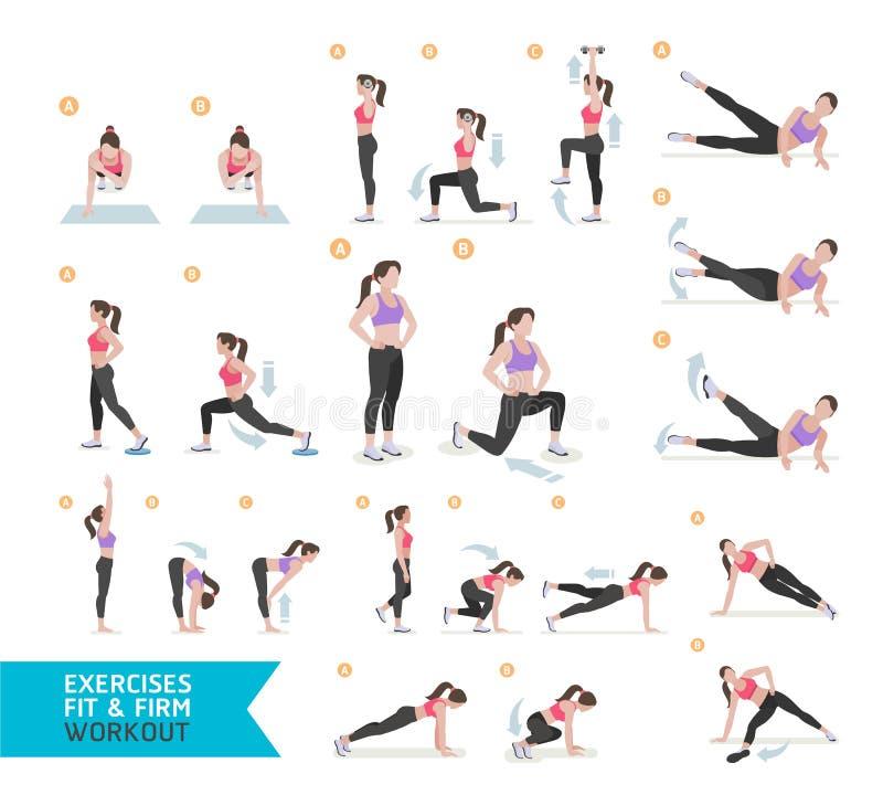 Kobieta treningu sprawność fizyczna, aerobik i ćwiczenia, royalty ilustracja