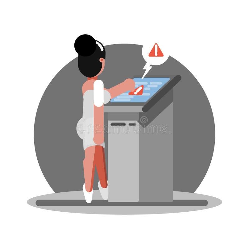 Kobieta troudle używać ATM ilustracji