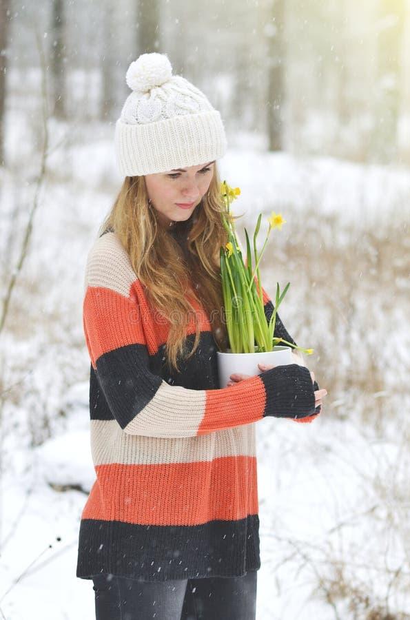 Kobieta Trzyma Białego kwiatu garnek z Daffodil zimy Śnieżnym lasem obrazy stock