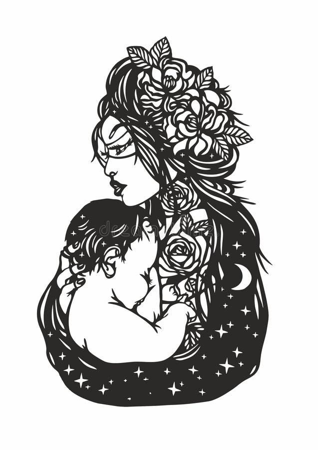 Kobieta trzyma dziecka Ð ¡ lipart dzień kwiat daje mum syna matkom ilustracja wektor
