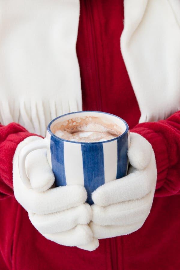 Kobieta trzyma filiżankę gorąca czekolada w ciepłych rękawiczkach obrazy stock