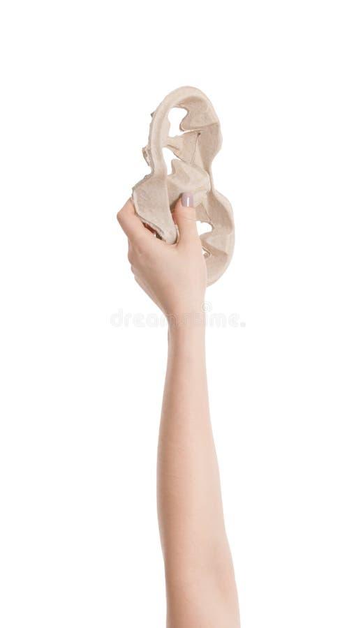 Kobieta trzyma filiżanki tacę odizolowywająca na bielu, zbliżenie zdjęcie royalty free