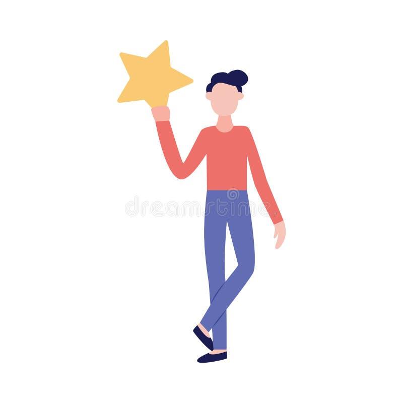 Kobieta trzyma gwiazdę ikona ratingowa wektorowa ilustracja odizolowywająca na bielu ilustracja wektor