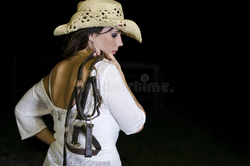Kobieta Trzyma kantar obraz stock