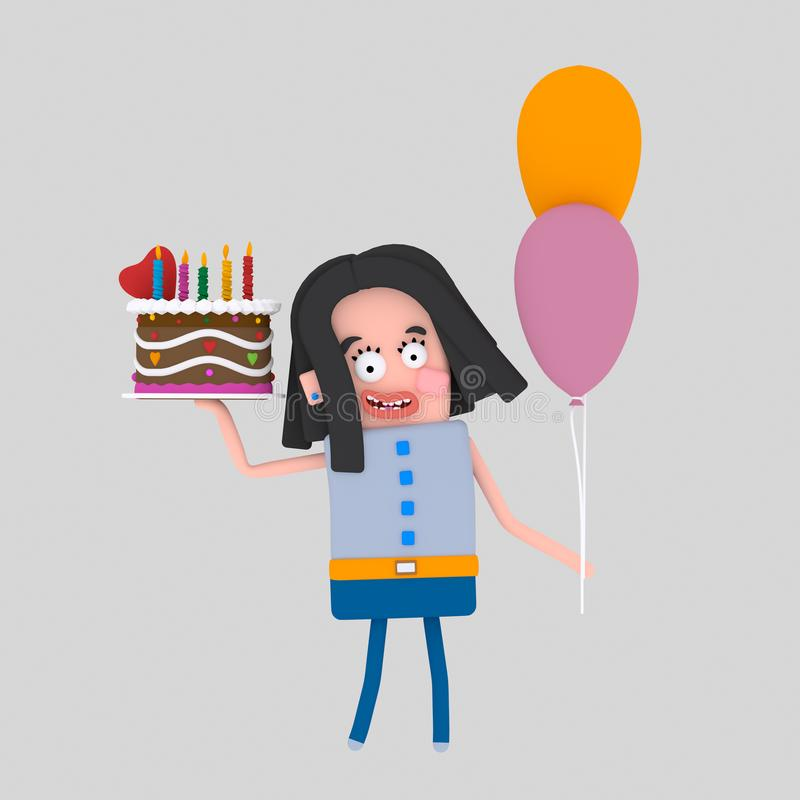 Kobieta trzyma kolorowego tort 3d ilustracja wektor
