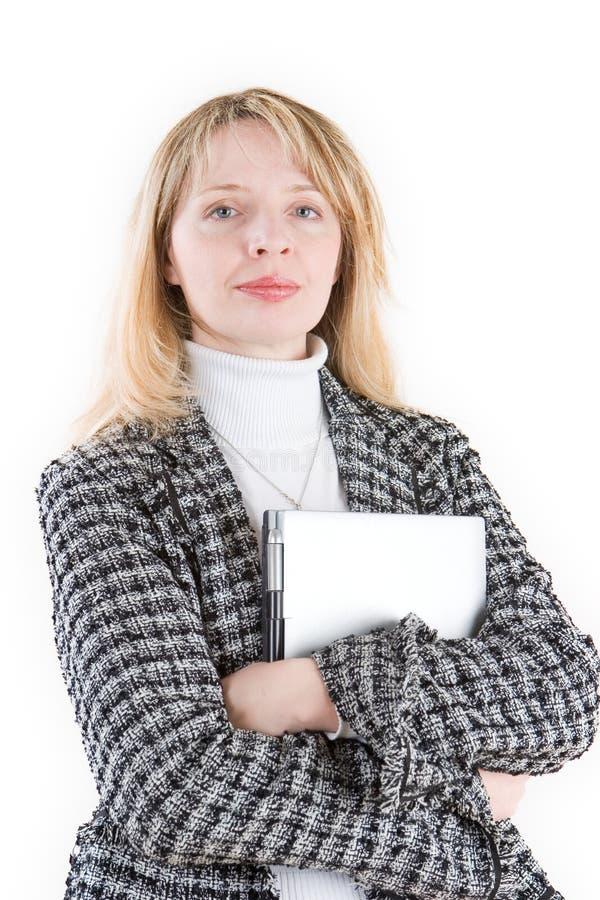 Kobieta trzyma laptop zdjęcie stock