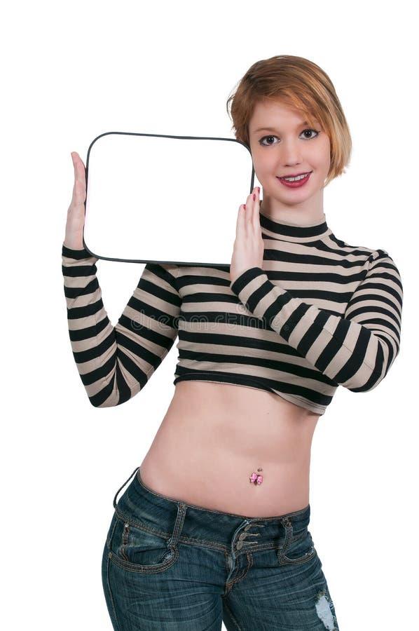 Kobieta Trzyma Pustego znaka zdjęcia stock