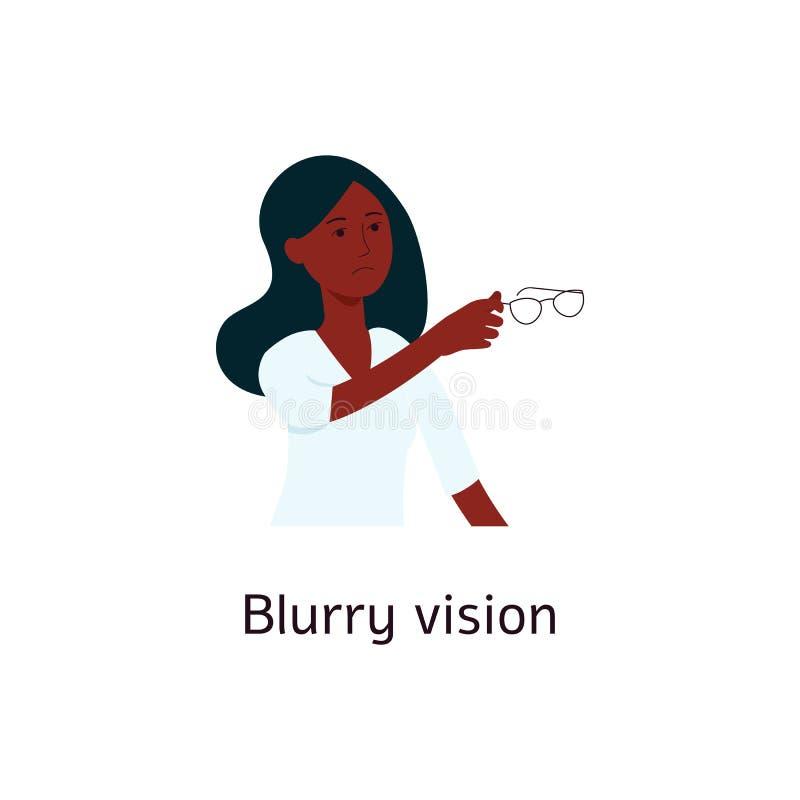 Kobieta trzyma szkło kreskówki styl z zamazanym wzrokiem ilustracja wektor