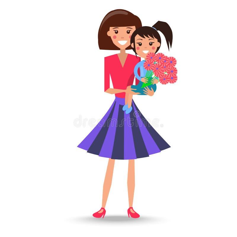 Kobieta Trzyma Uroczej córki na rękach z bukietem ilustracji