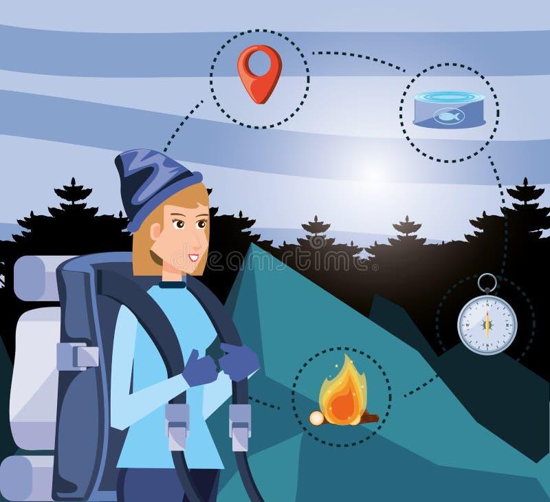 Kobieta turysta w camping strefie z ustalonymi ikonami ilustracji