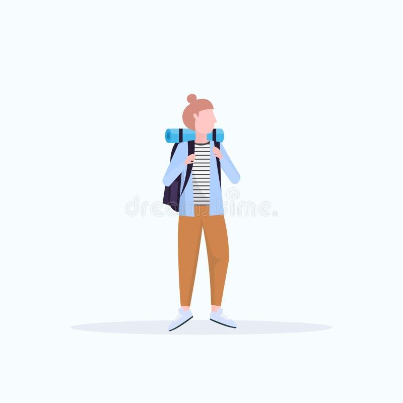 Kobieta turystyczny wycieczkowicz wycieczkuje pojęcie podróżnika na podwyżce z plecak pozycji pozą folował długości tła białego m royalty ilustracja
