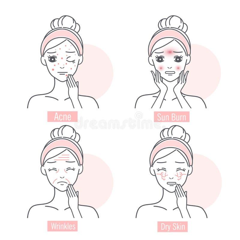 Kobieta twarzowego skóra problem fotografia stock