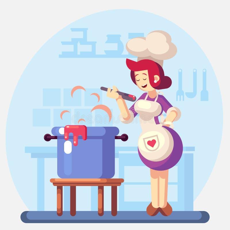 Kobieta Uśmiechnięty i szczęśliwy szefa kuchni kucharz w kuchennej narządzanie polewce, kumberland kolorowa ilustracja w płaskim  ilustracji