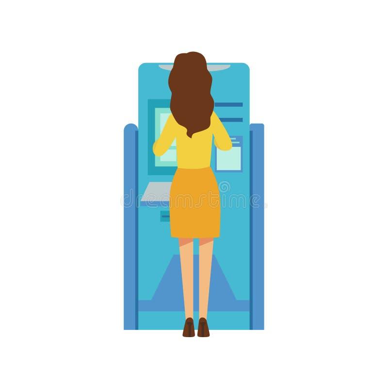 Kobieta Używa ATM Gotówkową maszynę Bank usługa, Obrachunkowy zarządzanie I Pieniężnych spraw O temacie Wektorowa ilustracja, ilustracji