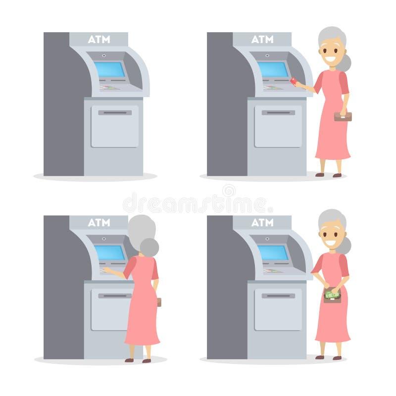 Kobieta używa ATM maszynę i dostaje pieniądze ilustracja wektor