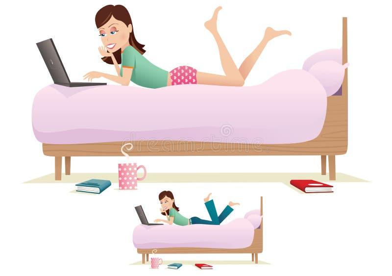 Kobieta używa komputer na łóżku ilustracji