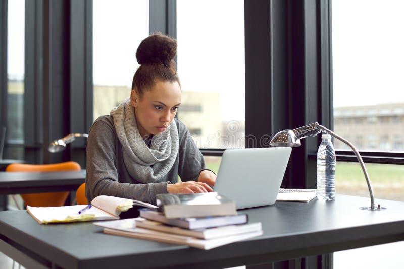 Kobieta używa laptop dla brać notatkę nauka fotografia stock