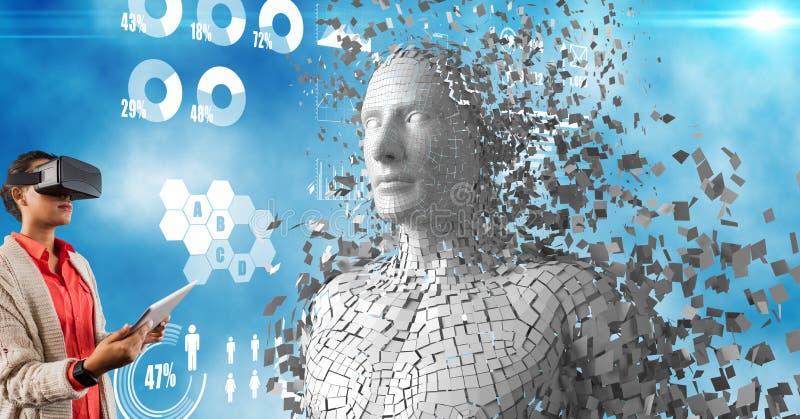 Kobieta używa wirtualnych szkła i pastylka peceta 3d istotą ludzką obrazy royalty free
