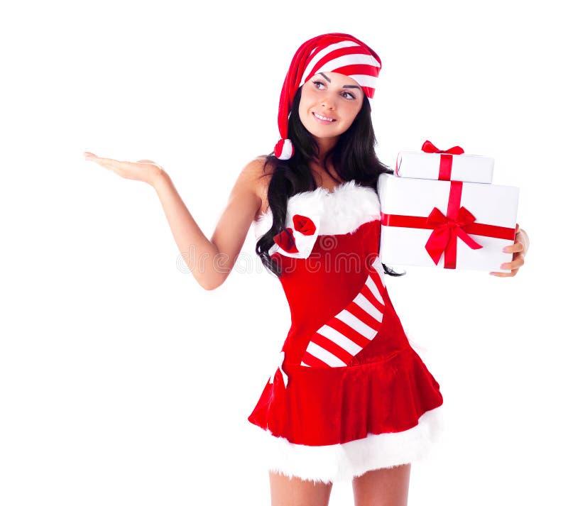 Kobieta ubierał jako Santa obraz royalty free