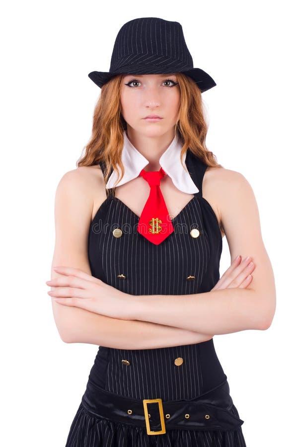 Kobieta ubierająca jako gangster odizolowywający fotografia stock